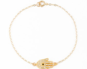 Hamsa Bracelet • Wish Bracelet • Gold Hamsa Bracelet • Rose Gold Bracelet • Good Luck Bracelet • Gold Charm Bracelet • Cz Bracelet   0075BM