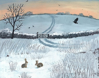 Print of English countryside in winter with crows and rabbits from an original acrylic painting 'Winter Dawn' by Jo Grundy