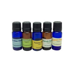 5 Fragrance Oils, Scented Oils, Neroli heaven, Yummy banana fragrance oil, Fresh cut rose, light blue meadow oil, spearmint and spice