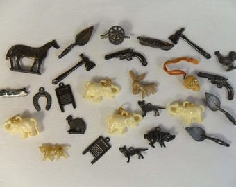 Vintage Cracker Jack Toys Charms 1920s Tootsie Toy Metal Plastic Celluloid