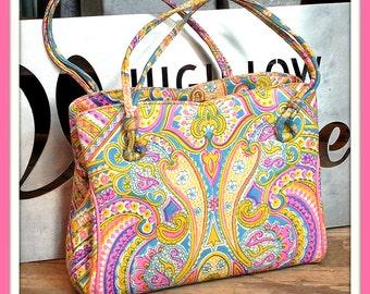 Vintage Pink Blue Gold Paisley Print Saks Fifth Ave Handbag Bag Purse Clutch