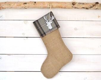 Christmas Burlap Stocking - Gray/Tan Plaid - Burlap Stocking, Christmas Stocking, Personalized Stocking, Stocking