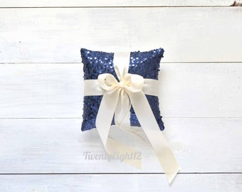 "Wedding Ring Bearer Pillow - Navy Sequin & Ivory Satin Bow - 8""x8"", Ring Pillow, Navy Ring Bearer Pillow, Wedding Pillow, Sequin Ring Pillow"