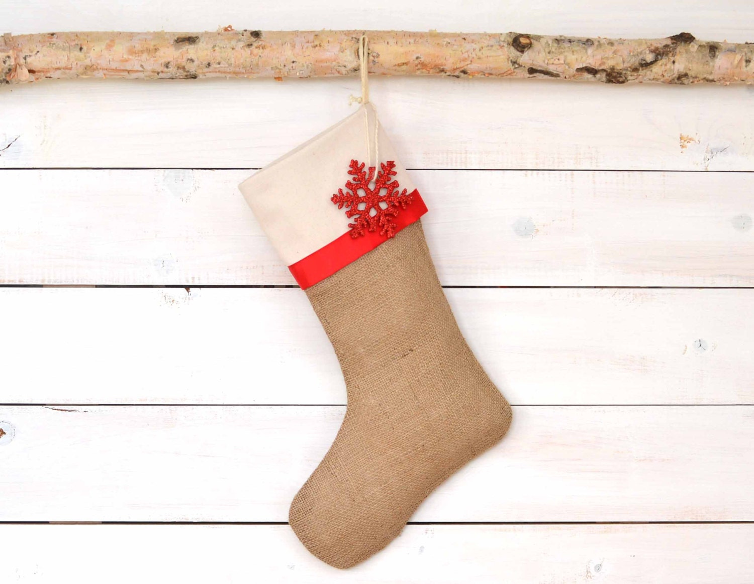 Sale Burlap Christmas Stocking Red Satin Trim Burlap