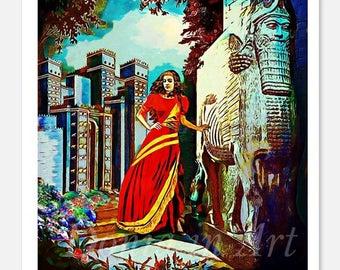 Assyria, Queen Shamiram, Queen Shamiran, Assyrian Queen Shamiram, Assyrian Lamassu, Assyria Art, Assyrian Paintings, Assyrian Gifts, Lamassu
