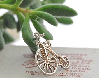 British VINTAGE Solid Sterling Silver Charm - Penny Farthing Bicycle / Bike