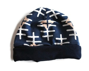 Navy Diamond Newborn Beanie Hat - Baby Accessories - Baby Hat - Newborn Hat