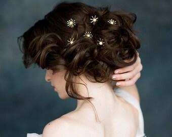 Star Hair Pins, Celestial Bridal Hair Pin Hairpiece, Silver Starburst Hair Pin, Hair Pin Set,  Rose Gold Hair Pins, Modern Headpiece, LUNA