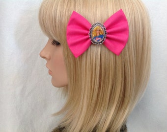 Barbie hair bow clip rockabilly vintage disney princess kawaii pin up girl fabric lace shabby chic doll ken retro ladies girls women
