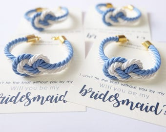 Asking bridesmaid - infinity knotted rope bracelet - tie the knot bracelet - blue white wedding - nautical knotted rope bracelet