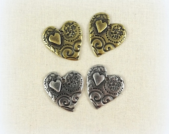 TierraCast Dulce Vida Collection - Amor Heart Charm Pendant, Large 24mm, Oxidized Brass and Antiqued Pewter - (TC/2501-2740) - Qty. 2