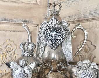 Mixed media art, altered art, Silver plated tea pot, mixed media assemblage, unique tea pot, vintage decor, angel wings cottage chic, silver