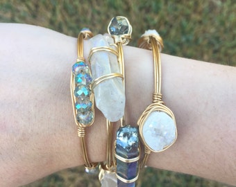 Crystal Wire Wrapped Bangle - Rainbow White Quartz Crystal Wire Wrapped Bangle - Rainbow Blue Quartz Crystal Wire Wrapped Bangle