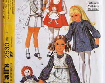 Vintage 1960s/1970s Girls A-Line Dress, Jumper, and Raggedy Ann Doll Sewing Pattern Size 3 McCall's 2530