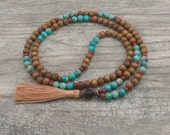 Mala Bead Necklace in Turquoise Magnesite and Wood with Red Jasper - Positive Attitude - Unconditional Love - Grounding - Item #960