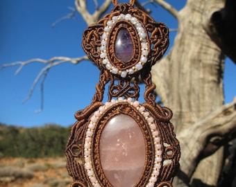 Amethyst and Rose quartz macrame healing stone pendant