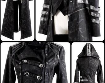 Punk rave - Streampunk Gothic long & short jacket (detachable)
