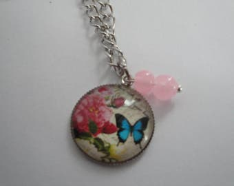 Butterfly and Rose Charm Pendant Necklace with Pink Quartz Beads