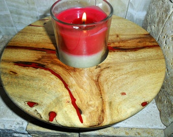 Wooden bowl, candle bowl, resin inlaid, red resin, functional wood art, hand turned wood bowl, spalted wood bowl, rustic wood bowl