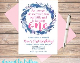 1st birthday, First birthday, Pink and Blue, Feathers,Flowers, 2nd, 3rd, 4th, 5th, 6th, Match your party, digital file.