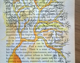Purkinje Neuron in yellow and orange hues - Watercolour and ink illustration on vintage book page