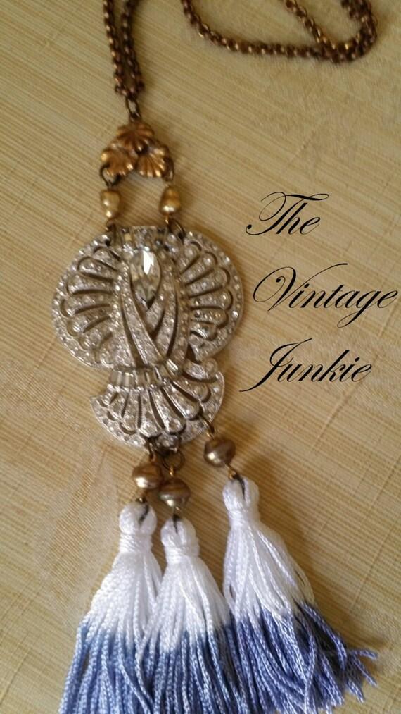 The Vintage Junkie...Repurposed Vintage Rhinestone Necklace with Dip Dyed Tassel Fringe