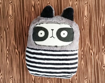 Stuffed super soft raccoon baby toy. Handmade.