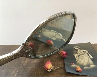 Antique Victorian hand mirror Sterling Silver Vanity mirror with monogramm Antique monogrammed mirror Dresser accessory Silver tone mirror