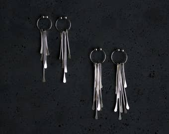 Silver Fringe Clip On Earrings - Argentium Sterling Silver - Dangle Non Pierced Earrings