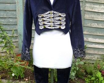 Womens UK 10, US 6 ,Upcycled blue and silver velvet  ringmaster tailcoat jacket