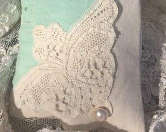 Lavender sachet from vintage hankie, pale green linen, cream lace, pearl button
