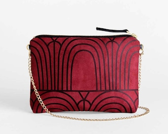 Burgundy Evening Bag - Vegan Suede Red Clutch Purse - Geometric Print Small Shoulder Bag - Maroon Faux Leather Purse - Vegan Leather Clutch