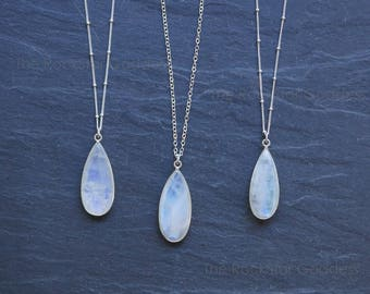Moonstone Necklace // Silver Moonstone // Moonstone  // Moonstone  Jewelry // Moonstone Bezel // Moonstone Jewelry