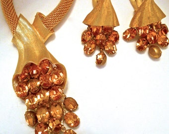 Gold Tone Mesh Necklace-Earrings Set, Juliana Style, Topaz Dangle Rhinestones, Vintage