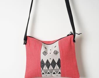 Day bag, Field Bag, Travel Bag, Screen printed Bag, Denim Bag,Coral Bag