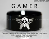 Legend Of Zelda Inspired 12MM Tungsten Gamer Wedding Ring, Black High Polish Beveled Ring, Free Inside Engraving