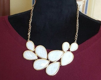 Statement Necklace White or Pink Geometric Statement Necklace Bib Necklace weddings bridesmaids BoHo Chic chunky necklace