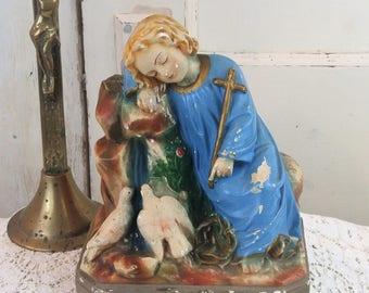 Vintage plaster / Chalkware RELIGIOUS statue CroSS lady dove girl Jesus Old