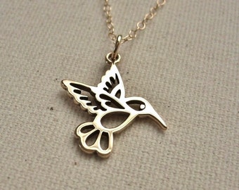 Hummingbird Necklace Bronze on Gold Filled Chain - Nature Jewelry, Gift for Her