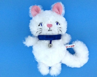 PROMO plush kitten minky rosette white, pink ears with blue collar with Bell, kids gift, Christmas gift