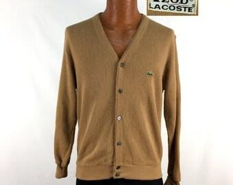 Vintage 70s Izod LACOSTE Acrylic Cardigan Sweater SMALL // Alligator // 1970s // Tan // Retro // Throwback // Gift // Gator // Camel