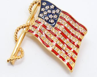 Jackie Kennedy Flag Pin - Gold Plated, Swarovski Crystals, Box and Certificate