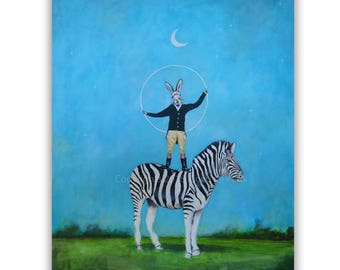 "Rabbit Painting , Zebra painting on canvas, Handmade painting, Big Size 31.5x39"",acrylic, whymsical handpainted by painter Coco de Paris"
