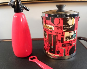 Vintage Mid Century Bar Set - Red and Black Music Ice Bucket/BOC Soda Spritzer/Bottle Opener