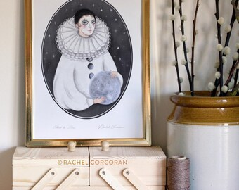 Clair de Lune Print by Rachel Corcoran - Pierrot Clown Doll, Digital illustration Print, Moon and Stars, French, Moon Phase