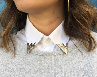 Collar tips for shirt silver / collar tips DIY / Malicieuse shop