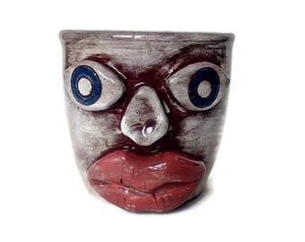 Hand thrown mug with primitive face, unique mug for creatives, brown tea cup, coffee mug sculpture, ceramic gift, sculpture mug, pottery mug