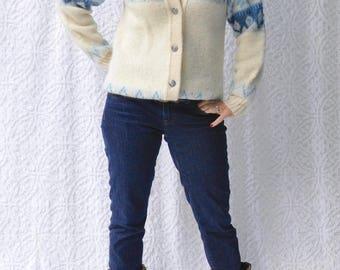 70s Norlander Sweater Made in Norway | Retro Arctic Wool Sweater. 70s Ski Sweater. Icelandic Wool Snowflake Sweater. Norwegian Wool Cardigan