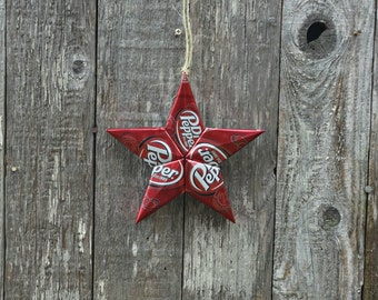 Upcycled Dr Pepper Soda Can Star Ornament