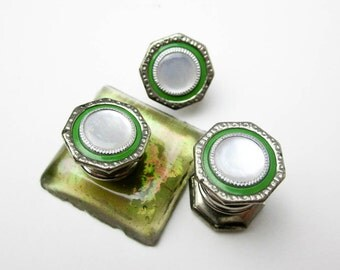 30s Snap Apart Cuff LInks, MOP & Silver Plate w. Green Enamel, Art Deco, Hallmarked Snap Link, USA.
